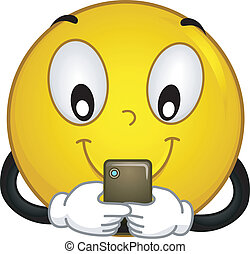 Techie Smiley - Illustration of a Smiley Using a Mobile...