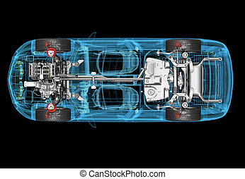 Technical 3d illustration of SUV car with x-ray effect and ...