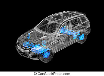 Technical 3d illustration of SUV car with x-ray effect. ...