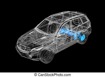 Technical 3d illustration of SUV car with x-ray effect. Rear...