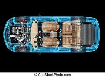 Technical 3d illustration of SUV car with x-ray effect.