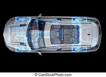 Technical 3d illustration of SUV car with x-ray effect. Top ...