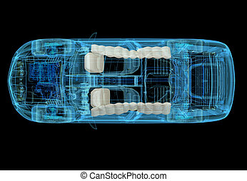 Technical 3d illustration of SUV car with xray effect and ...