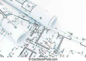 technical and engineering drawings, floor plans, rolls of architecture blueprints