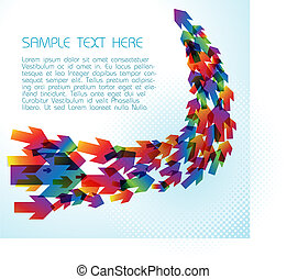 Technical background with colorful arrows on light blue