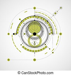 Technical blueprint, green vector digital background with geometric design elements, circles. Illustration of engineering system, abstract technological backdrop.