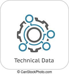 Technical Data Icon. Gear and Option Dots. Engineering...