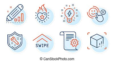 Technical documentation, Customer satisfaction and Inspiration icons set. Vector