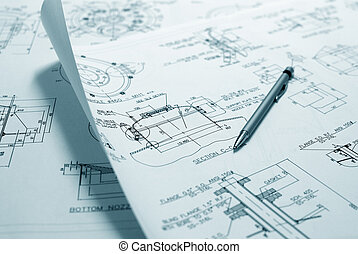 Technical drawing - An engineer\'s technical drawings and...