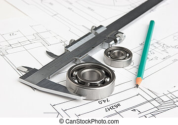 technical drawing and bearing - technical drawing and...