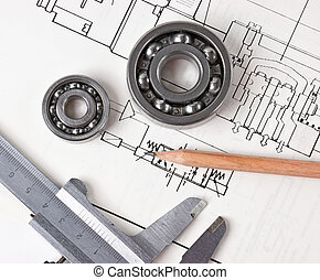 Technical drawing and callipers