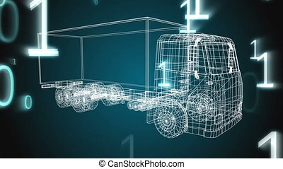 Technical drawing of a truck with numbers falling
