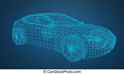 Technical drawing of car