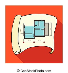 Technical Drawing Of House Icon In Flat Style Isolated On White Background Architect Symbol Stock