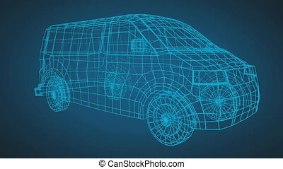 Technical drawing of van on a blue background