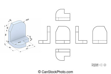 Technical Drawing with perspective and orthogonal views - ...