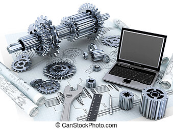 Conceptual image of mechanical engineering of a machine