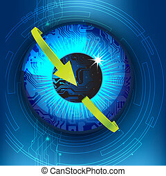 illustration of eye with arrow in technological background