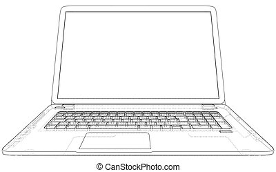 Technical Illustration with laptop drawing on the 3d blueprint
