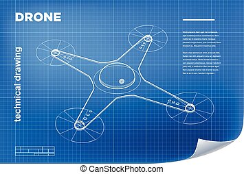 Technical Illustration with vector isometric line quadcopter drone drawing on the blueprint.