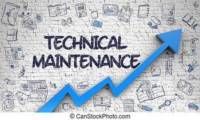 Technical Maintenance Drawn on White Brick Wall. 3D.