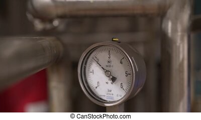 Technical manometer at diary plant close up view - Technical...