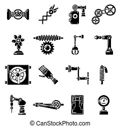 Technical mechanisms icons set, simple style