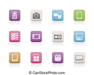 technical, media and electronics icons - vector icon set