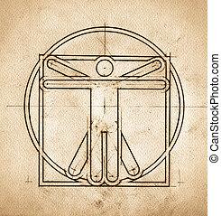 Technical Minimalistic Vitruvian Man - Grunge technical ...