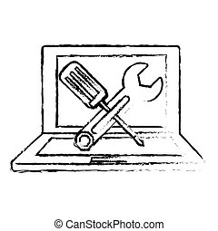 technical repair of computer icon image vector illustration ...
