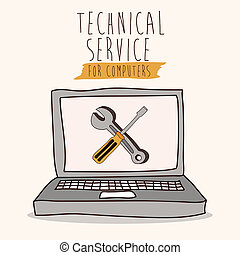 Technical service design over white background, vector illustration