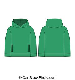 Technical sketch hoody children's clothes. Hoodie in green color isolated on white background.