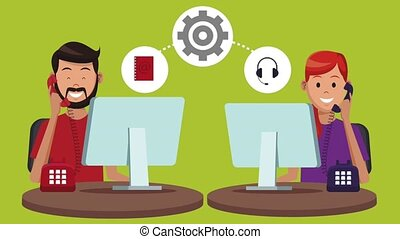 Technical support and call center service HD animation -...