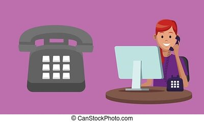 Technical support and call center service HD animation