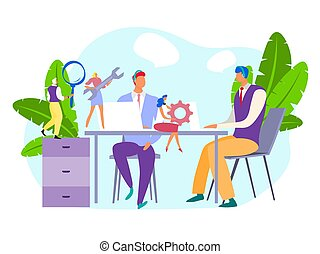 Technical support at business company, vector illustration. Professional tech assistant worker people on employee table in office. Character team with magnifier, wrench, gear, ready for repair.