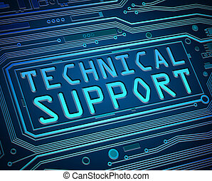Abstract style illustration depicting printed circuit board components with a technical support concept.