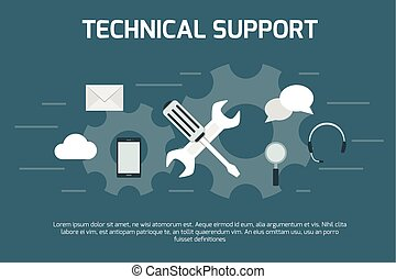 Technical support concept. Screw cross wrench on working wheels background