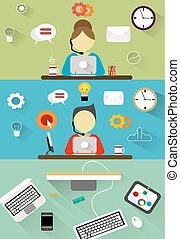 Technical support, customer service flat illustration concepts set.