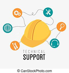 Technical support design. - Technical design over white ...