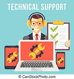 Technical support flat illustration concept. Modern flat design concepts for web banners, web sites, printed materials, infographics. Creative vector illustration
