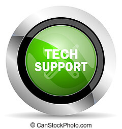 technical support icon, green button