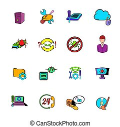 Technical support icons set cartoon