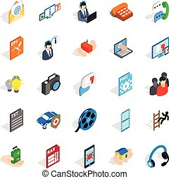 Technical support icons set, isometric style