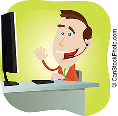 Illustration of a cartoon happy man IT support.