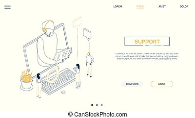 Technical support - line design style isometric web banner