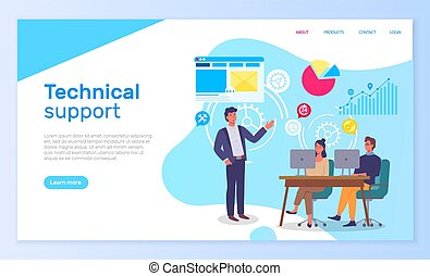 Technical support office people interact with computers. Landing page template with infographic elements and male instructor talking to characters sitting at a table, explains the information to them