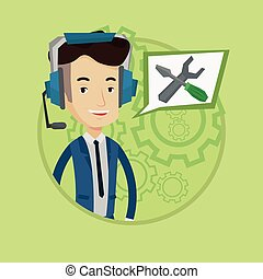 Technical support operator vector illustration. - Operator...