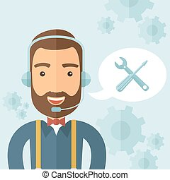 The technical support agent taking calls in a call center. Support concept. Vector flat design illustration.