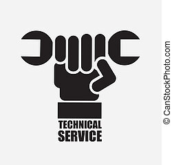 technical support over gray  background vector illustration