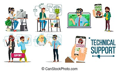 Technical Support Vector. Online 24 7 Technical Support. Headset. Support Service. Operator And Customer. Answering. Specialist Ready To Solve Problem. Flat Isolated Illustration